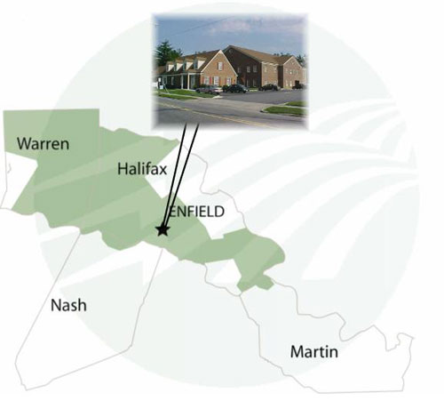 Map, with picture of building. Warren, Nash, Halifax, Enfield, Martin.